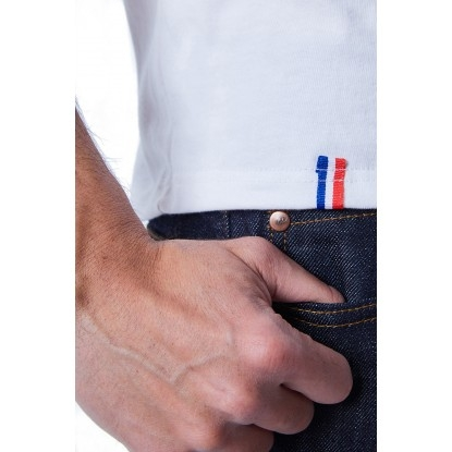 T-SHIRT HOMME BLANC BIAIS BLEU - Made in France & Coton Bio