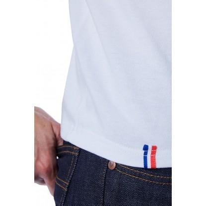 T-SHIRT HOMME BLANC BIAIS NOIR - Made in France & Coton Bio