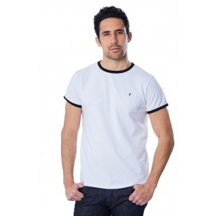 T-SHIRT HOMME BLANC BIAIS NOIR - Made in France & Coton Bio