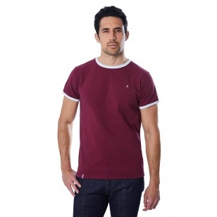 T-SHIRT HOMME BORDEAUX BIAIS BLANC - Made in France & Coton Bio