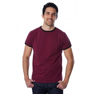 T-SHIRT HOMME BORDEAUX BIAIS NOIR - Made in France & Coton Bio