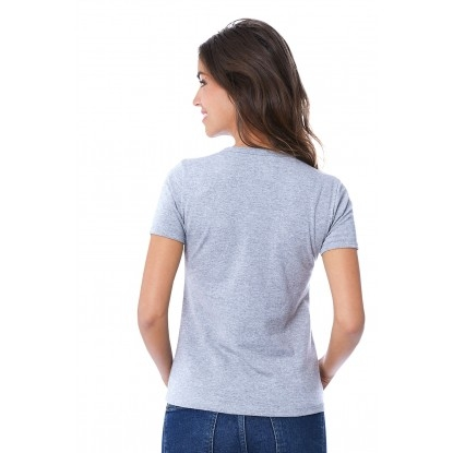 T-SHIRT FEMME MANCHE COURTE COL ROND GRIS CLAIR CHINÉ - Made in France & 100% Recyclé