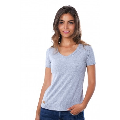 T-SHIRT FEMME MANCHE COURTE COL V GRIS CLAIR CHINÉ - Made in France & 100% Recyclé
