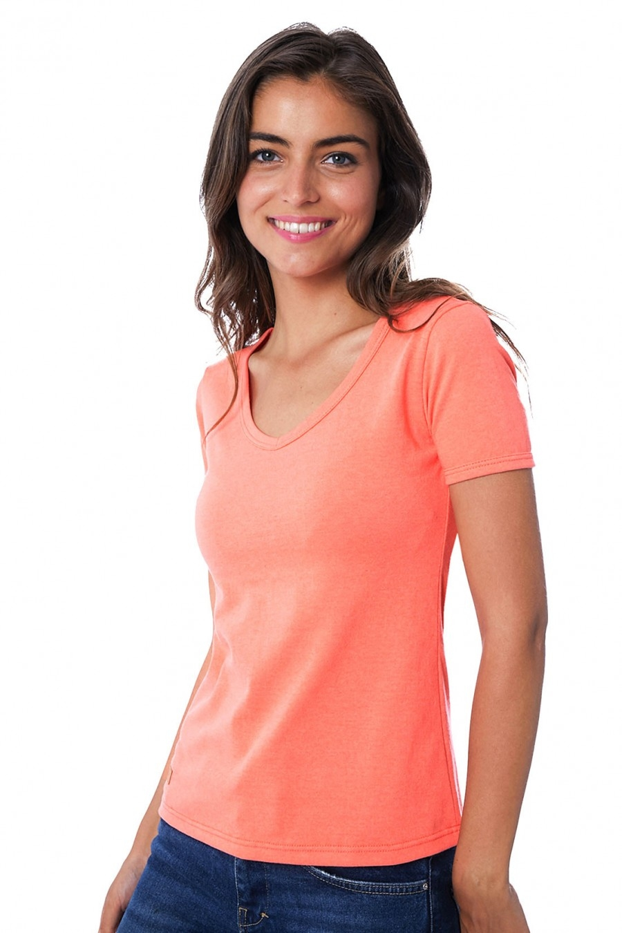 T-SHIRT FEMME MANCHE COURTE COL V CORAIL - Made in France & 100% Recyclé