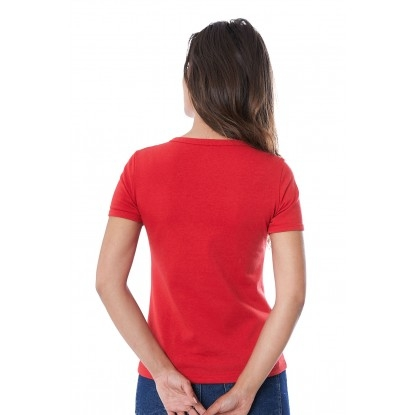 T-SHIRT FEMME MANCHE COURTE COL ROND ROUGE - Made in France & 100% Recyclé