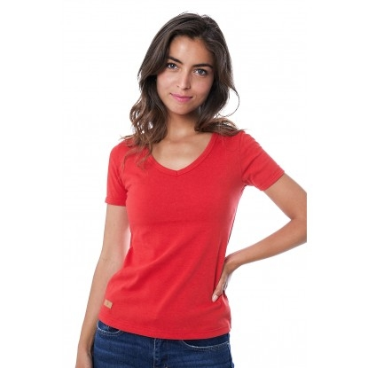 T-SHIRT FEMME MANCHE COURTE COL V ROUGE - Made in France & 100% Recyclé