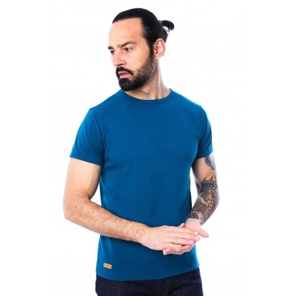 T-SHIRT HOMME MANCHE COURTE COL ROND BLEU CANARD - Made in France & 100% Recyclé