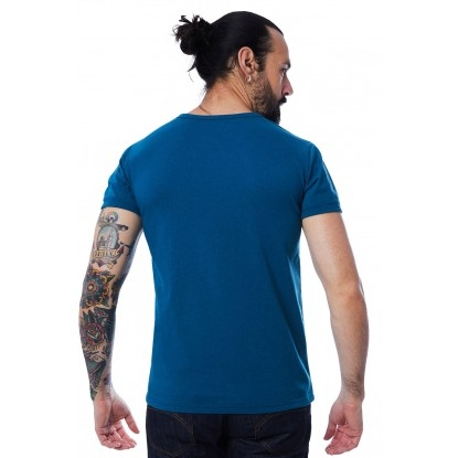 T-SHIRT HOMME MANCHE COURTE COL V BLEU CANARD - Made in France & 100% Recyclé