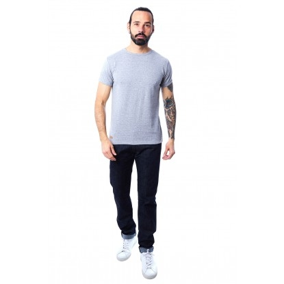T-SHIRT HOMME MANCHE COURTE COL ROND GRIS CLAIR CHINÉ - Made in France & 100% Recyclé