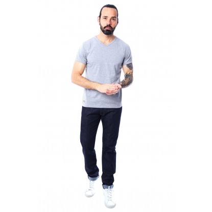 T-SHIRT HOMME MANCHE COURTE COL V GRIS CLAIR CHINÉ - Made in France & 100% Recyclé