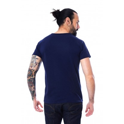 T-SHIRT HOMME MANCHE COURTE COL V BLEU ROI - Made in France & 100% Recyclé