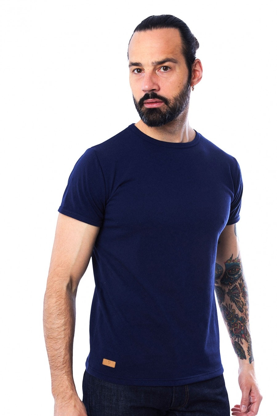T-SHIRT HOMME MANCHE COURTE COL ROND BLEU ROI - Made in France & 100% Recyclé