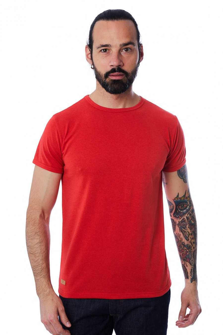 T-SHIRT HOMME MANCHE COURTE COL ROND ROUGE - Made in France & 100% Recyclé