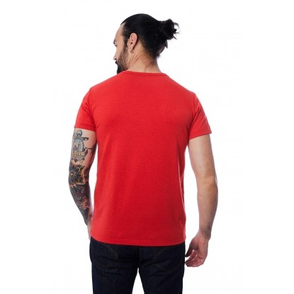 T-SHIRT HOMME MANCHE COURTE COL V ROUGE - Made in France & 100% Recyclé
