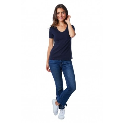 T-SHIRT FEMME COL V BLEU UNI - Made in France & Coton Bio