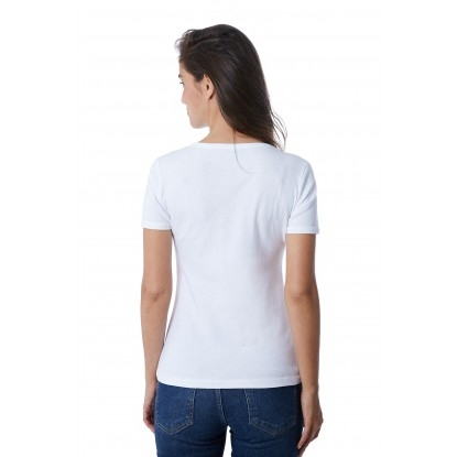 T-SHIRT FEMME COL V MARINIÈRE BLANC - Made in France & Coton Bio