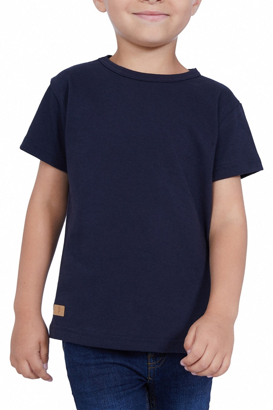 T-SHIRT ENFANT MANCHE COURTE COL ROND BLEU - Made in France & Coton bio