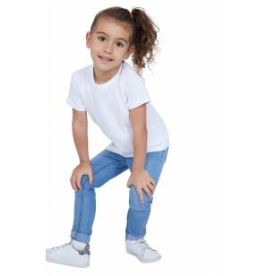 T-SHIRT ENFANT MANCHE COURTE COL ROND BLANC - Made in France & Coton bio