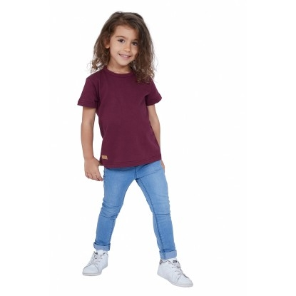 T-SHIRT ENFANT MANCHE COURTE COL ROND BORDEAUX - Made in France & Coton bio