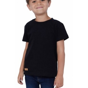 T-SHIRT ENFANT MANCHE COURTE COL ROND NOIR - Made in France & Coton bio