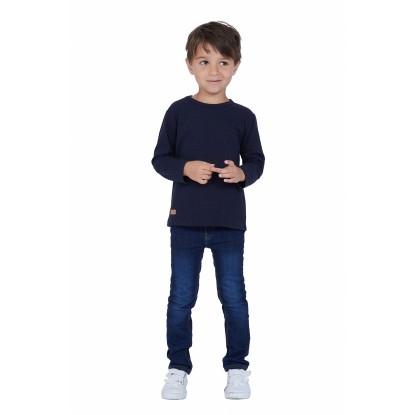 T-SHIRT ENFANT MANCHE LONGUE COL ROND BLEU - Made in France & Coton bio