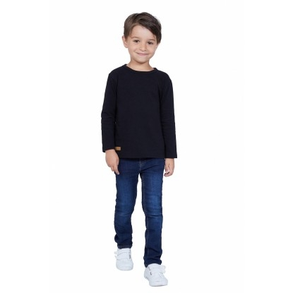 T-SHIRT ENFANT MANCHE LONGUE COL ROND NOIR - Made in France & Coton bio