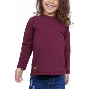 T-SHIRT ENFANT MANCHE LONGUE COL ROND BORDEAUX - Made in France & Coton bio