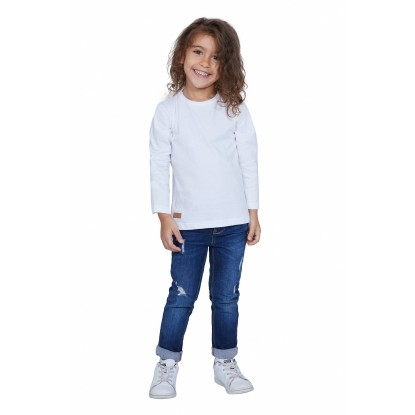 T-SHIRT ENFANT MANCHE LONGUE COL ROND BLANC - Made in France & Coton bio