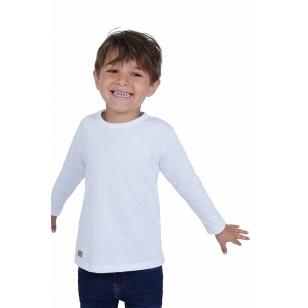 T-SHIRT ENFANT MANCHE LONGUE COL ROND BLANC - Made in France & Coton bio