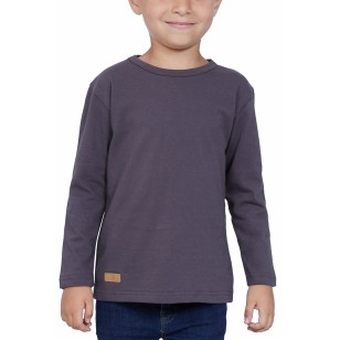 T-SHIRT ENFANT MANCHE LONGUE COL ROND GRIS - Made in France & Coton bio