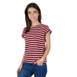 T-SHIRT FEMME MANCHE COURTE COL ROND MARINIERE ROUGE - Made in France & 100% Recyclé