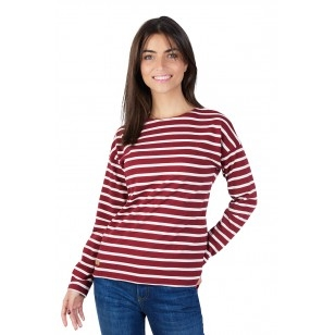 T-SHIRT FEMME MANCHE LONGUE COL ROND MARINIERE ROUGE- Made in France & 100% Recyclé