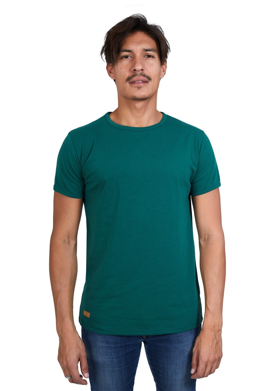 T-SHIRT HOMME MANCHE COURTE COL ROND VERT BOUTEILLE - Made in France & 100% Recyclé