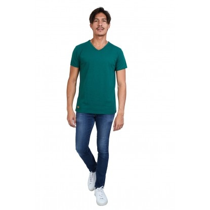 T-SHIRT HOMME MANCHE COURTE COL V VERT BOUTEILLE - Made in France & 100% Recyclé