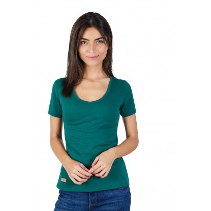T-SHIRT FEMME MANCHE COURTE COL V VERT BOUTEILLE - Made in France & 100% Recyclé