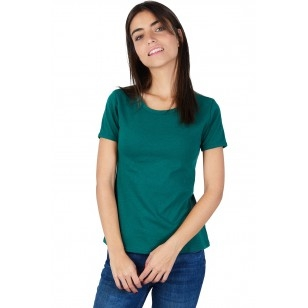 T-SHIRT FEMME MANCHE COURTE COL ROND VERT BOUTEILLE - Made in France & 100% Recyclé