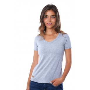 T-SHIRT FEMME COL V GRIS CLAIR CHINE UNI - Made in France & Coton Bio