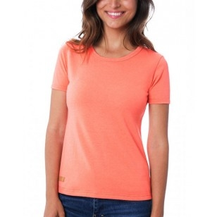 T-SHIRT FEMME MANCHE COURTE COL ROND CORAIL - Made in France & 100% Recyclé