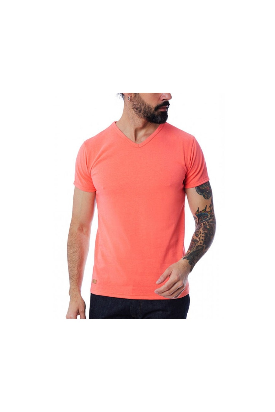 T-SHIRT HOMME MANCHE COURTE COL V CORAIL - Made in France & 100% Recyclé