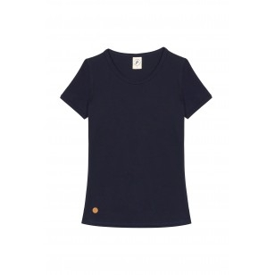 T-SHIRT FEMME COL ROND BLEU UNI - Made in France & Coton Bio