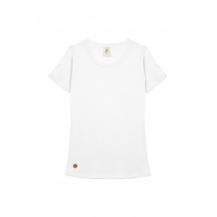 T-SHIRT FEMME COL ROND BLANC UNI - Made in France & Coton Bio