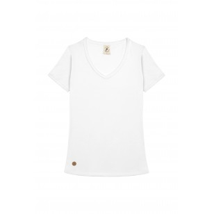 T-SHIRT FEMME COL V BLANC UNI - Made in France & Coton Bio