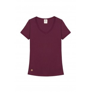 T-SHIRT FEMME COL V BORDEAUX UNI - Made in France & Coton Bio
