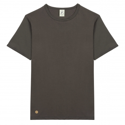 T-SHIRT HOMME COL ROND BEIGE CHINÉ UNI - Made in France & Coton Bio