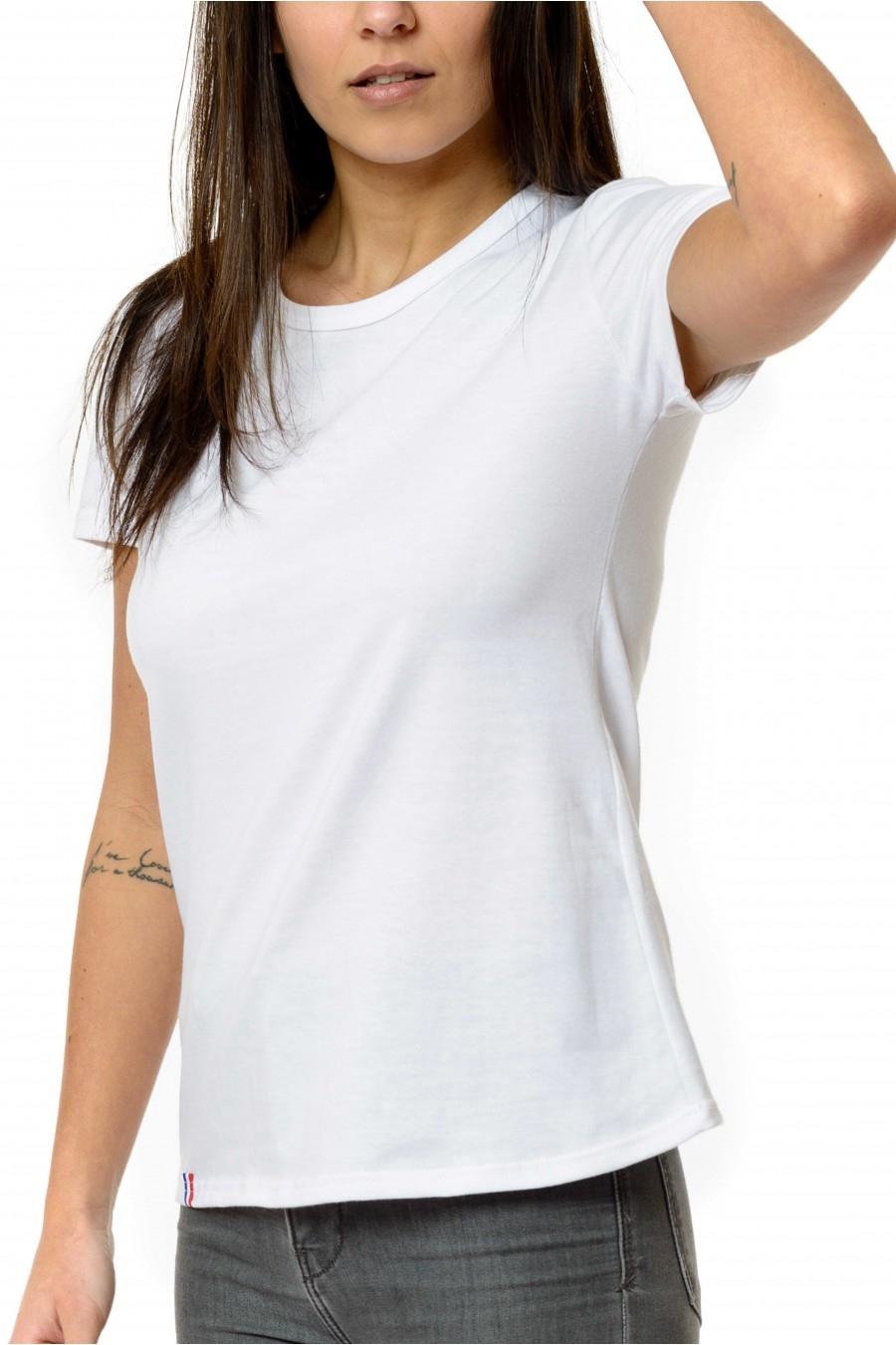 fe40464c067 Tee shirt Femme Uni Blanc - 100% Made in France - 100% Coton Bio