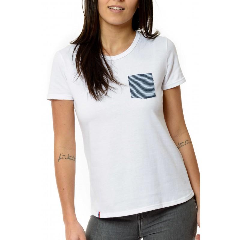 tee shirt femme marini re blanc 100 made in france. Black Bedroom Furniture Sets. Home Design Ideas