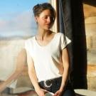 T-SHIRT LIN NATUREL FEMME -...