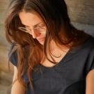 T-SHIRT LIN MARINE FEMME -...