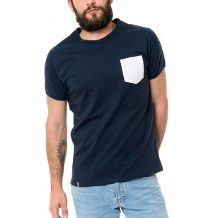 T-SHIRT HOMME COL ROND BLEU POCHE BLANCHE - Made in France & Coton Bio