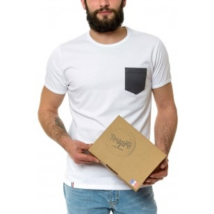 T-SHIRT HOMME COL ROND BLANC POCHE GRISE - Made in France & Coton Bio